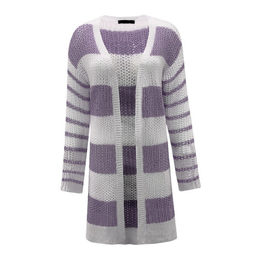 Feel The Vibes Striped Cardigan - Lavender