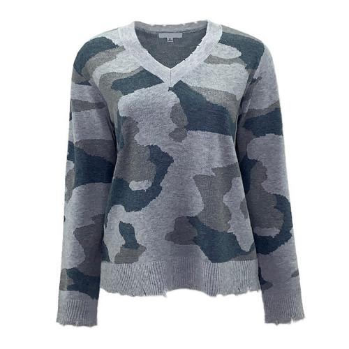 Loving My Life Distressed Camo Sweater