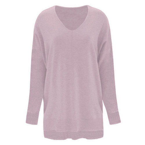 If You Only Knew V-Neck Sweater - Heather Peony