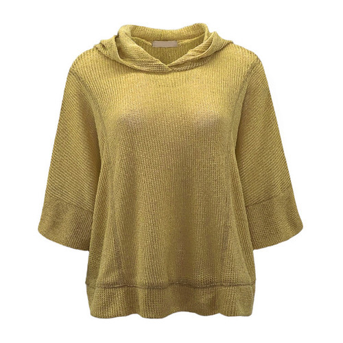 It's All Possible Hooded Poncho Top - Mustard