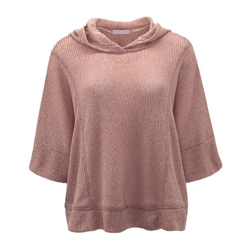 It's All Possible Hooded Poncho Top - Mauve