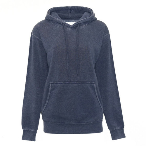 Burnout Boyfriend Hooded Pullover - Navy