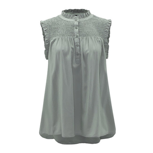 Pure Intuition Smocked Top - Sage