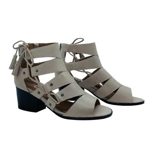 Tatiana Heeled Leather Sandal - Light Clay