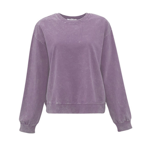 Crazy Chaos Acid Wash Sweatshirt - Purple