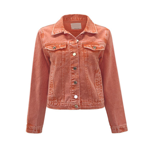 Breezy Acid Wash Denim Jacket - Orange