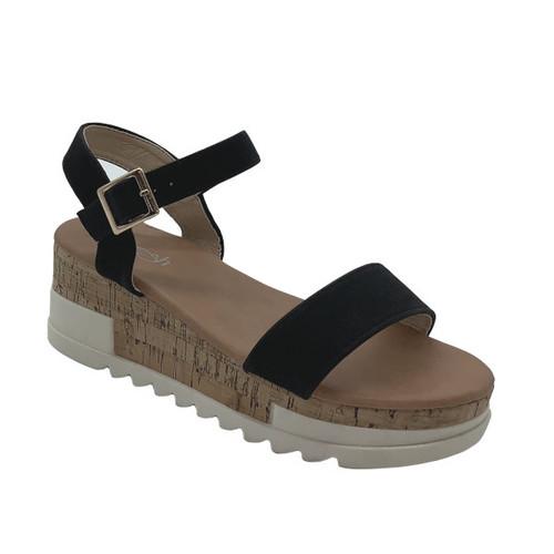 Aimee Wedge Sandal - Black