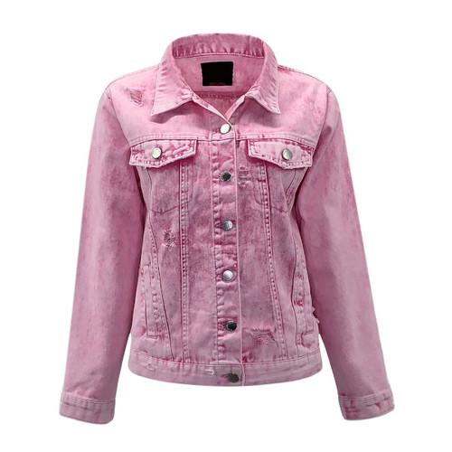 Take Me Back Acid Wash Denim Jacket - Pink
