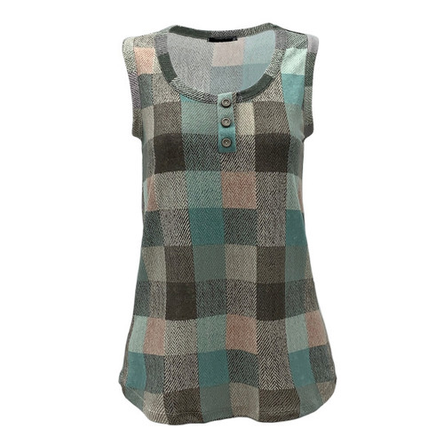 Perfect In Plaid Henley Style Tank