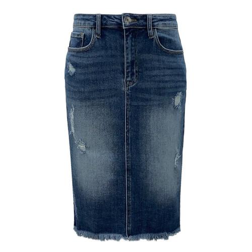 Tuskegee Frayed Hem Denim Midi Skirt