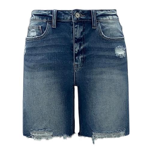 Sienna High Rise Distressed Hem Shorts