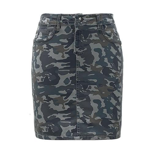 Charli Reversible Camo/Grey Denim Skirt