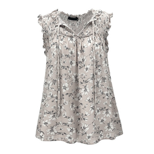 Whittier Floral Frill Sleeve Top - Grey