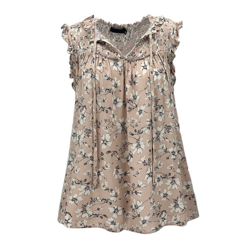 Whittier Floral Frill Sleeve Top - Peach