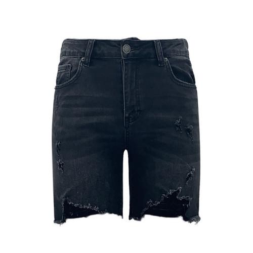 Rockville High Wasited Long Shorts - Washed Black