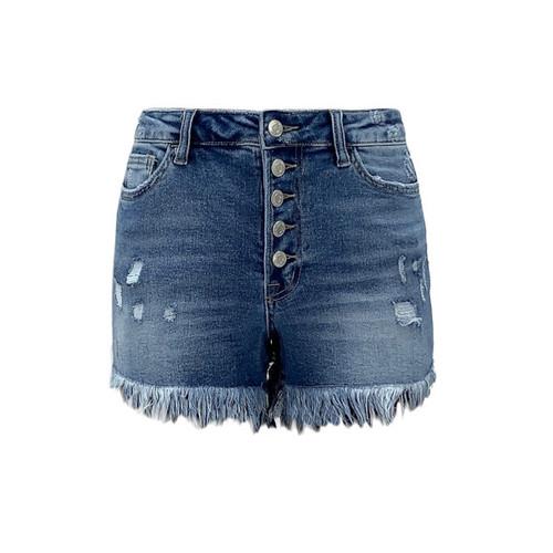 Rebecca High Rise Fringe Hem Shorts