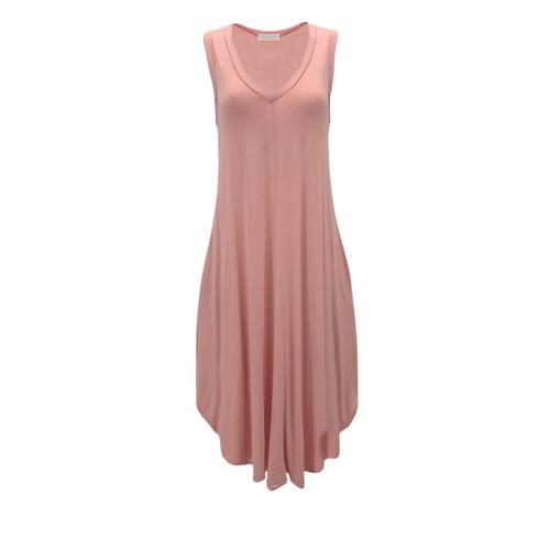 Charlotte V-Neck Midi Dress - Peach