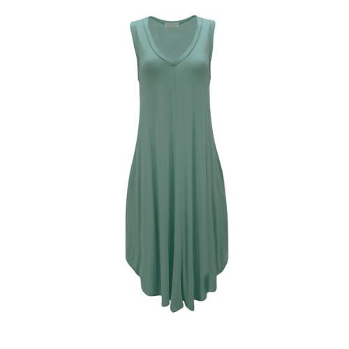 Charlotte V-Neck Midi Dress - Green