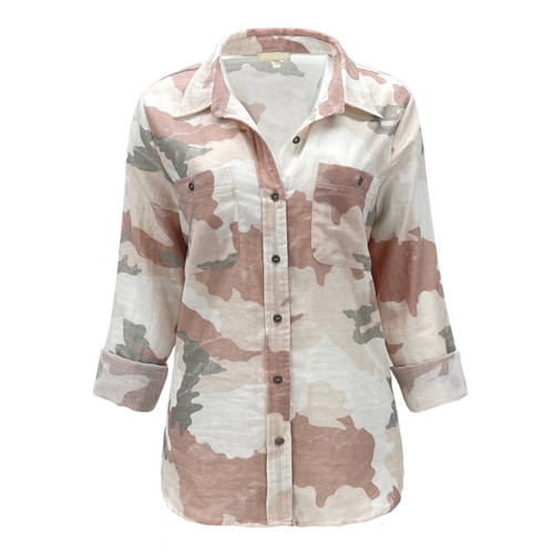 Rosewood Camo Button Down Top