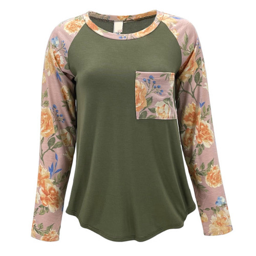 Deena Floral Long Sleeve Top - Olive