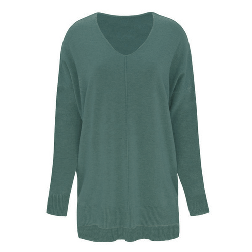 If You Only Knew V-Neck Sweater - Dusty Aqua