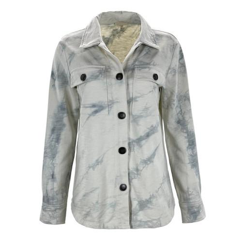Tie Dye Terry Shirt Jacket By Mystree