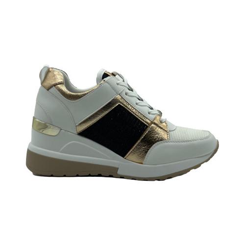 Renato Garini Wedge Sneaker - White/Rose Gold