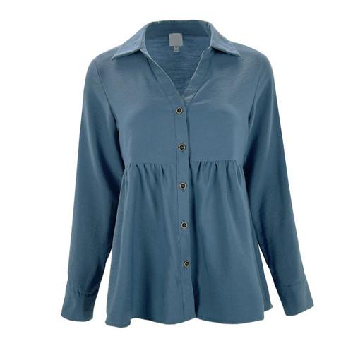 Corduroy Babydoll Button Down Top - Denim Blue