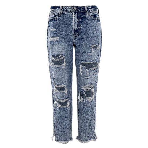 Hillary High Rise Distressed Mom Jeans by KanCan