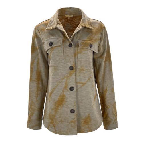 Tie Dye Terry Shirt Jacket By Mystree - Beige