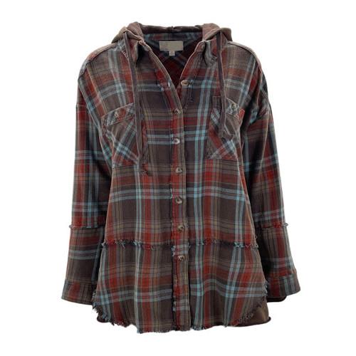 Washed Plaid Hooded Shirt Jacket