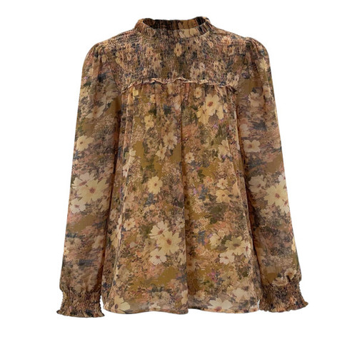 A New Place Smocked Floral Blouse