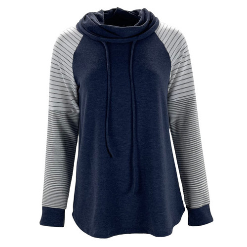 Over The Top Cowl Neck Top - Navy