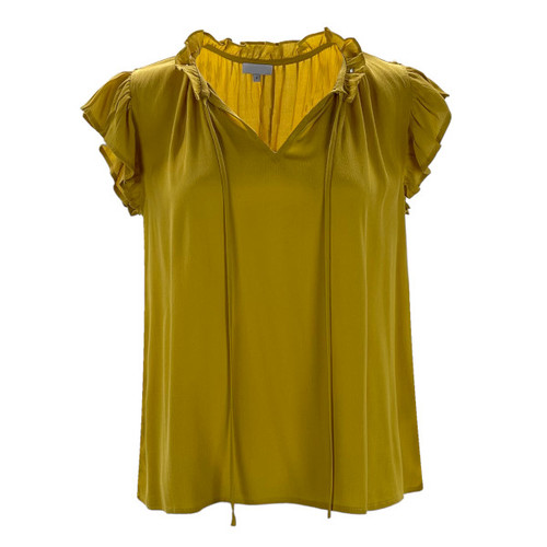 Here To Stay Ruffle Sleeve Top - Mustard
