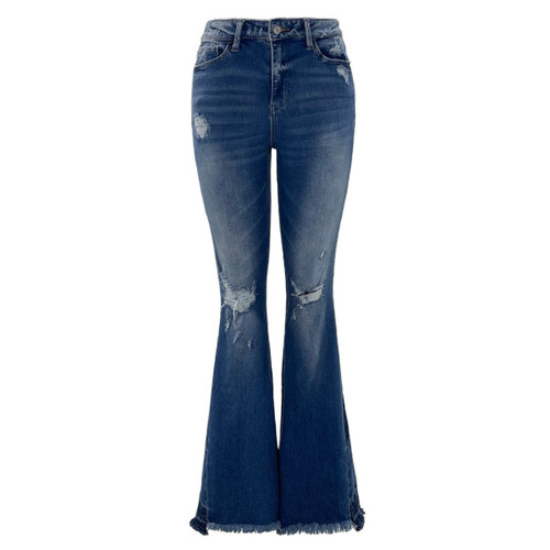 Patchwork High Rise Flare Jeans by Vervet