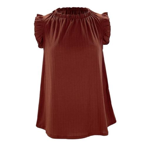Darling Delight Ruffle Sleeve Top - Cinnamon