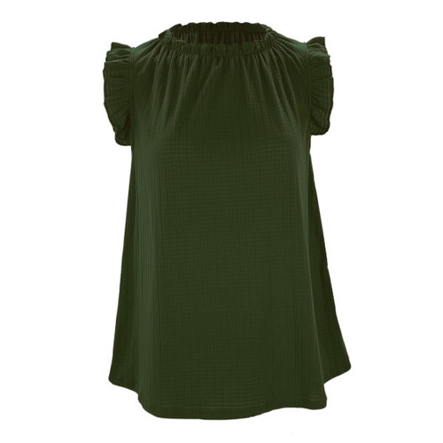 Darling Delight Ruffle Sleeve Top - Dark Olive