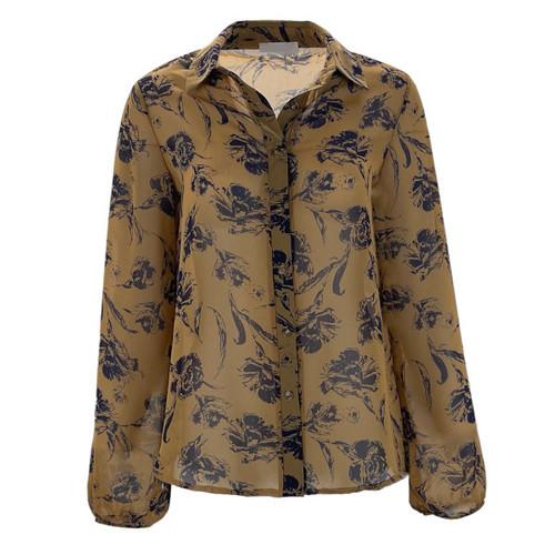 Floral Semi-Sheer Blouse - Camel/Navy