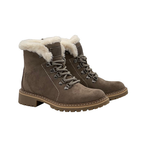 Tinsley Short Lace-Up Ankle Boot - Taupe