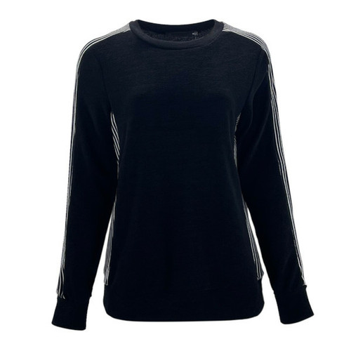 Make You Proud Striped Detail Pullover - Black