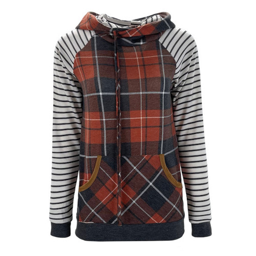 A Checkered Past Plaid Hoodie - Red Rust
