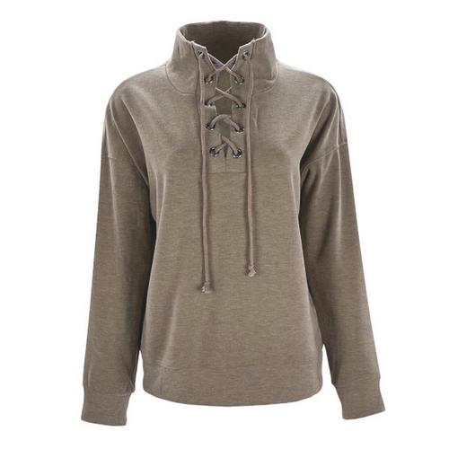 Beacon Lace Up Mock Neck Sweatshirt - Taupe
