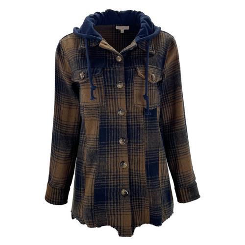 Bring The Drama Plaid Shirt Jacket - Navy Mix