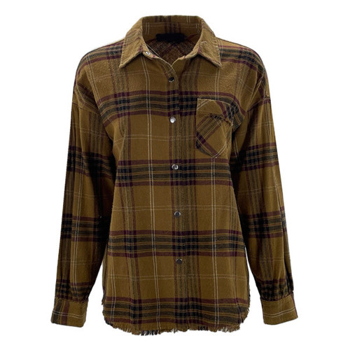 Play The Game Frayed Hem Flannel