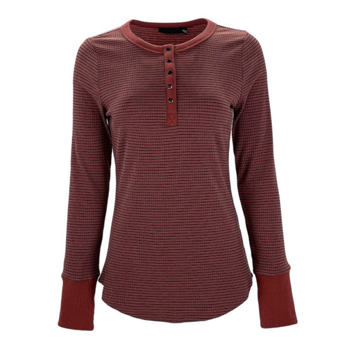 Stay In Step Striped Henley - Brick