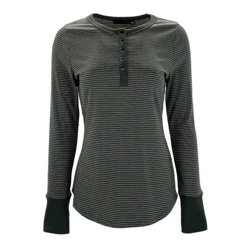 Stay In Step Striped Henley - Forest