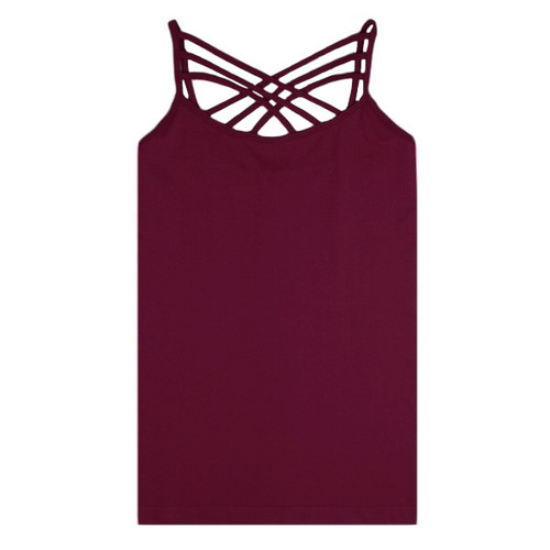 Criss Cross Cami - Burgundy