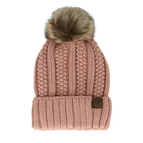 C.C Cable Knit Pom Pom Beanie - Indi Pink