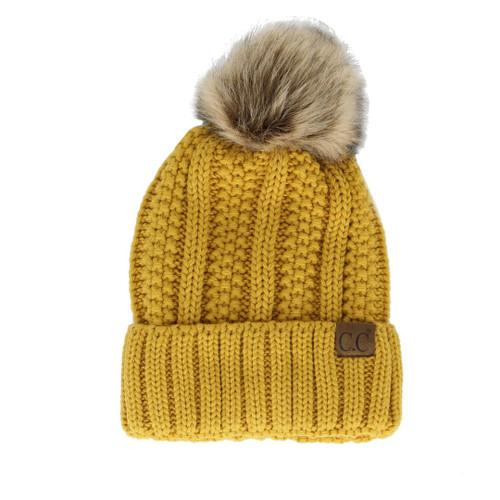 C.C Cable Knit Pom Pom Beanie - Mustard