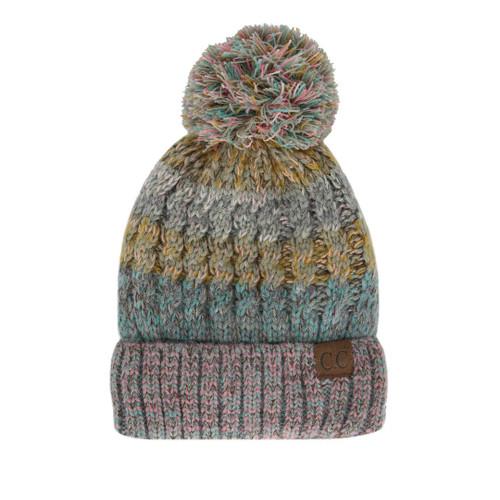 Yarn Detail C.C Pom Pom Beanie - Taupe - Trendy Threads Inc 8a91bc02c2c2